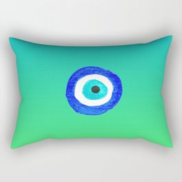 Single Evil Eye Amulet Talisman Ojo Nazar - ombre lime to tuquoise Rectangular Pillow