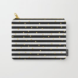 Modern black white gold polka dots striped pattern Carry-All Pouch