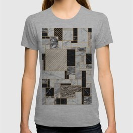 Random Pattern - Black and White Marble T-shirt