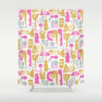 saxophone Shower Curtains featuring funky jazz by ottomanbrim