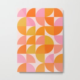 Mid Century Mod Geometry in Pink and Orange Metal Print