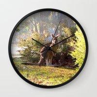 kangaroo Wall Clocks featuring Kangaroo by Nove Studio