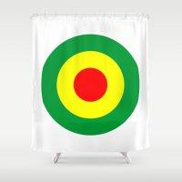 reggae Shower Curtains featuring Rasta Reggae Dub Roundel by artberry