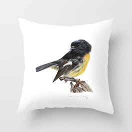 New Zealand Tomtit Throw Pillow