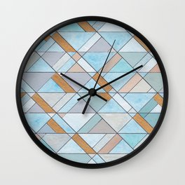 Shifting Pattern Turquoise and Gold Wall Clock