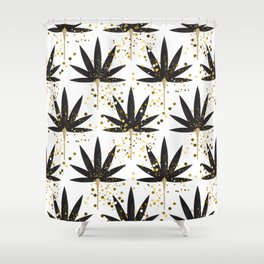 Stylized black palm leaves Shower Curtain