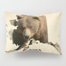 Alaskan Grizzly Map Pillow Sham