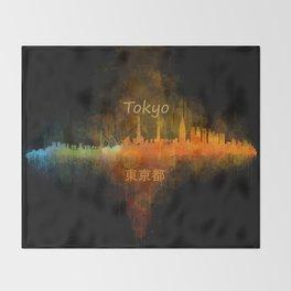 Tokyo City Skyline Hq V4 Throw Blanket