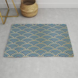 Japan Wall Art: Seigaiha Wave, Japanese Motif, Blue Seas and Waves in Blue and Gold Rug