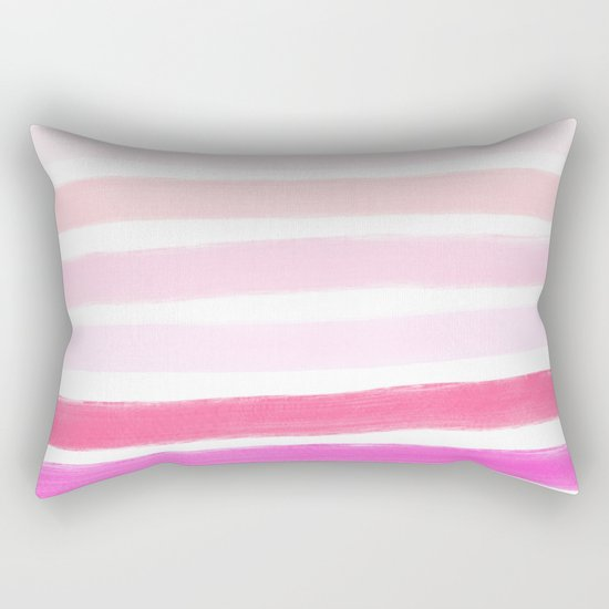 Modern Pink Pillow : Modern pink ombre handdrawn brushstrokes stripes pattern Rectangular Pillow by Girly Trend ...