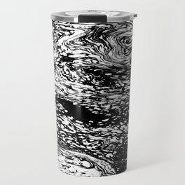Black and White Mosaic Marble Swirl Abstract Travel Mug