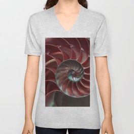Closeup of red ammonite shell Unisex V-Neck
