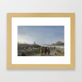 An Italianate Landscape with an unidentified subject from the Old Testament, Cornelis van Poelenburc Framed Art Print