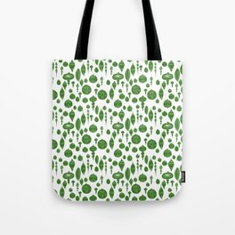 Vintage Christmas Ornaments in Green on White Tote Bag
