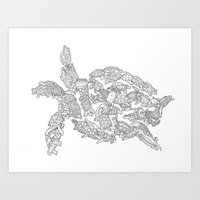 turtles Art Prints featuring Turtles by Evolution Posters