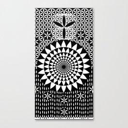 Sun Torus Sacred Geometry Black White Canvas Print