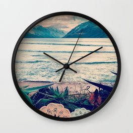 Tropical Island Moutain Collage Wall Clock