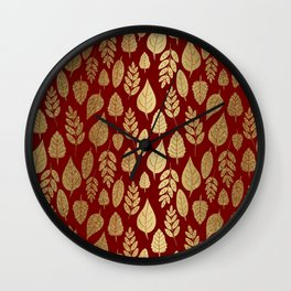 Gold Leaves Pattern Wall Clock