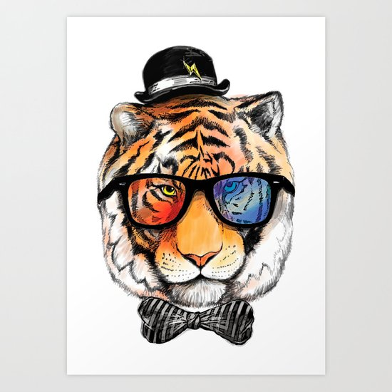tiger nerd Art Print