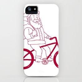 Santa Claus Riding Bicycle Side Cartoon iPhone Case