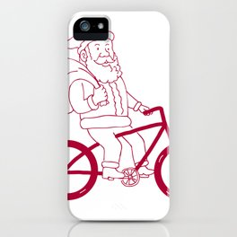 Santa Claus Riding Bicycle Side Cartoon iPhone Case