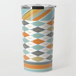 Retro 1980s Argyle and Stripes Geometric Travel Mug
