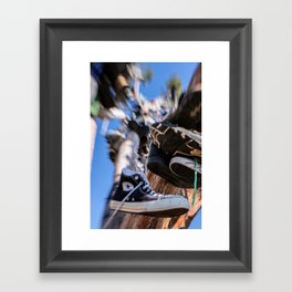Hanging in the Shoe tree on Hwy 395 Framed Art Print