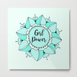 Girl Power Turquoise Aqua Mandala Metal Print