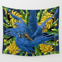 Hyacinth Macaws and bananas Stravaganza (black background). Wall Tapestry