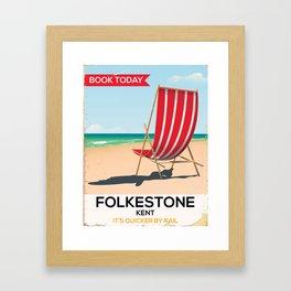 Folkestone Kent vintage seaside poster Framed Art Print