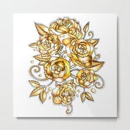 Golden Floral Metal Print
