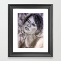 Pencil Portrait Drawing  - American Actress - Emma Stone Framed Art Print