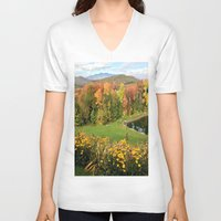 vermont V-neck T-shirts featuring Vermont Foliage Watercolor by Vermont Greetings