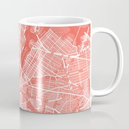 Living Coral Blush Pink Mantel Decor showing Manhattan New York City. Minimalist Layered Artwork Coffee Mug
