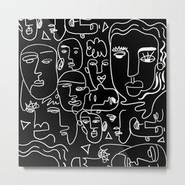 Faces on Black Metal Print