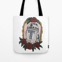 r2d2 Tote Bags featuring R2D2 by Bare Wolfe