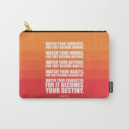 Lab No.4 - Watch Your Thoughts For They Become Words Inspirational Quotes poster Carry-All Pouch