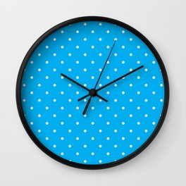 Small White Polka Dots with Blue Background Wall Clock