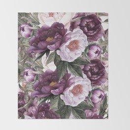 Purple Plum Pink Watercolor Peonies and Greenery Throw Blanket