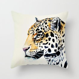 The Leopard Watercolor (Color) Throw Pillow