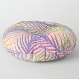 Palm Leaves Pattern - Purple, Peach, Blue Floor Pillow