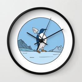 Emperor Penguin Shovel Antartica Circle Mono Line Wall Clock