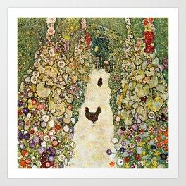 Gustav Klimt Garden Path With Chickens Art Print