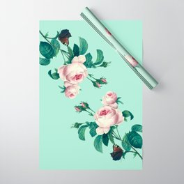 Roses Mint Green + Pink Wrapping Paper