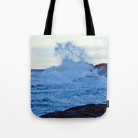 geology Tote Bags featuring Exploding Surf  by DanByTheSea