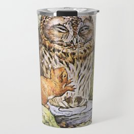 Squirrels tease a sleeping Owl Travel Mug
