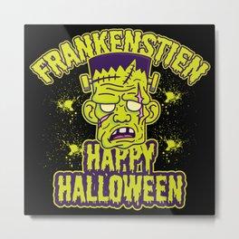 Happy Halloween Frankenstein Poem Metal Print