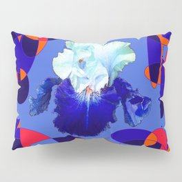 Modern Blue White Iris Orange Saffron Black Design Pillow Sham