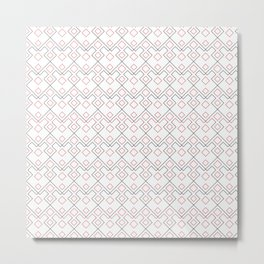 Geometric abstract simple minimalist red black pattern Metal Print