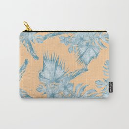 Ocean Blue Palm Leaves on Coral Apricot Carry-All Pouch